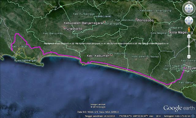Screen capture rute Pangandaran-Yogyakarta via JLS sepanjang sekitara 240 km.