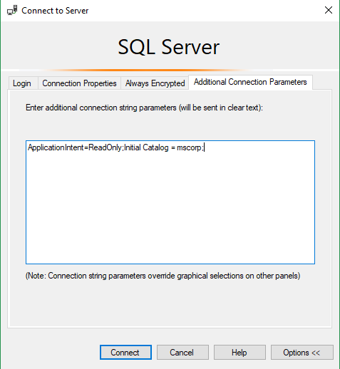 Read-Only Routing Connection parameters on SSMS