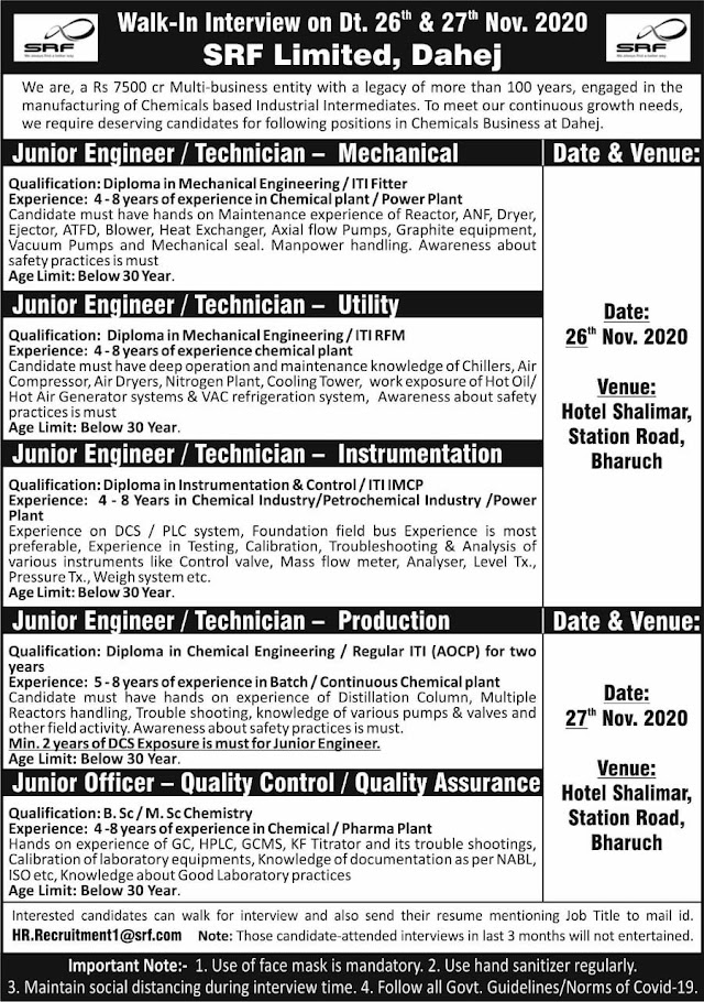 SRF limited | Walk-in for Production/QA/Engg on 26&27 Nov 2020