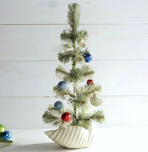 Mini Christmas Alternative Tree in Shell Planter