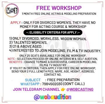 Join Online Free Acting Modeling Workshop