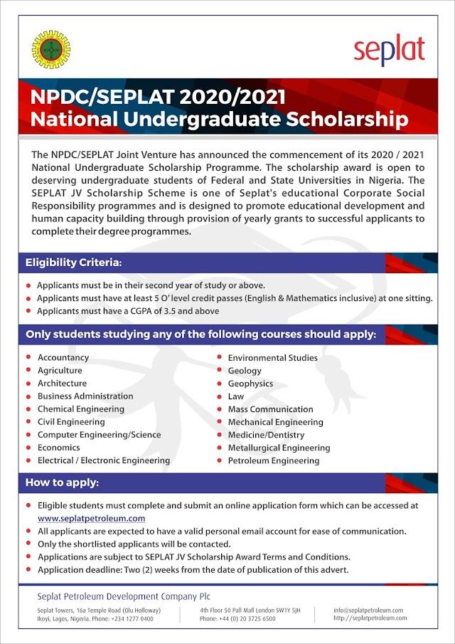SEPLAT JV National Undergraduate Scholarship 2020/2021