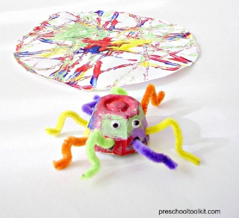 colourful egg carton spider