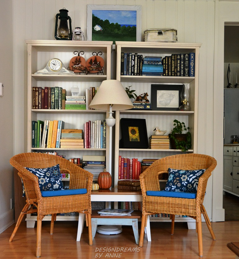 I Created A Library Reading Nook In The Living Room With The Old Dining Room Chairs And Nesting Tables