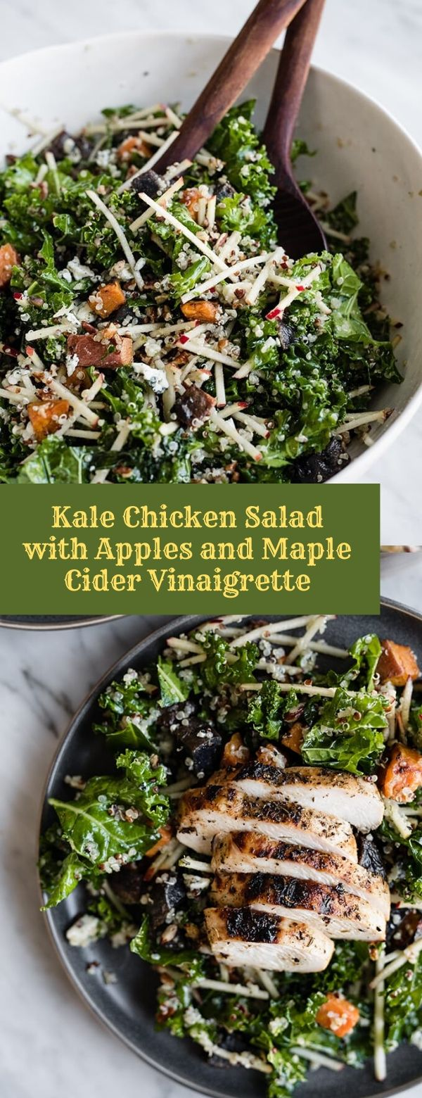 Kale Chicken Salad with Apples and Maple Cider Vinaigrette