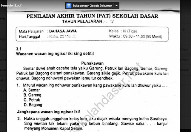Soal Ulangan K13 Bahasa Jawa Kelas 3 Semester 2