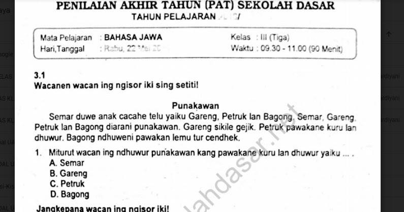 Soal Ulangan K13 Bahasa Jawa Kelas 3 Semester 2 Sekolahdasar Net