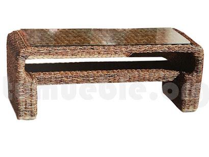 mesa de centro hecho en rattan natural j389