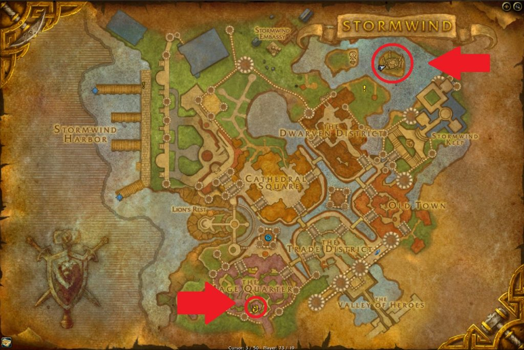 The two portal locations in Stormwind.