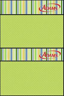 Etiqueta Golosinas Adams para Imprimir Gratis de Verde, Azul y Naranja.