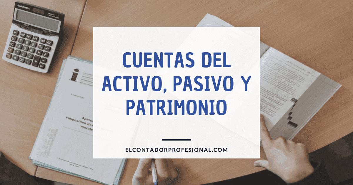 cuentas del activo pasivo y patrimonio