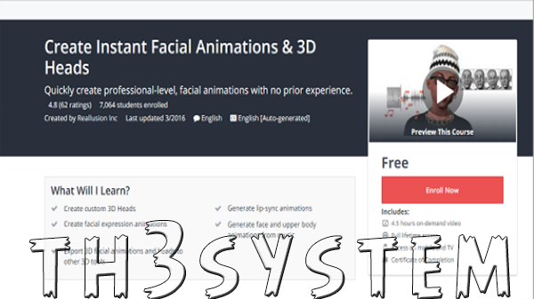 Udemy platform shared with you a free cycle routesFree animated faces industry programme of the famous CrazyTalk