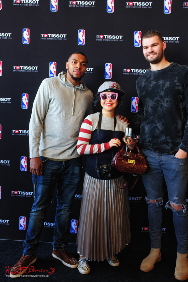 Sterling Brown, Vivienne Shui and Isaac Humphries at TISSOT NBA Finals Party Sydney - Photography by Kent Johnson.