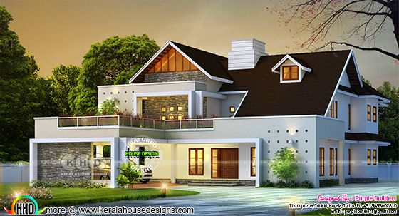 Beautiful double storied house 3d rendering