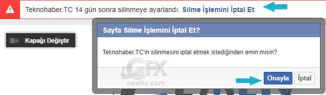 facebook Sayfayı Silmeyi iptal et -www.ceofix.com