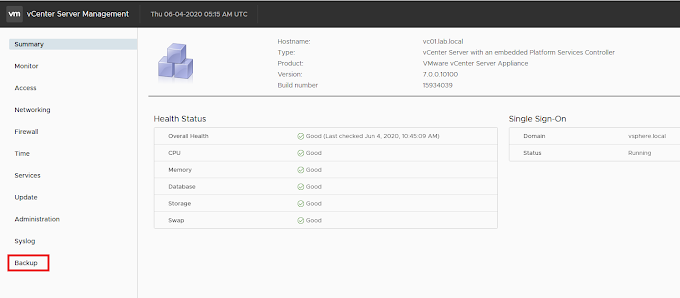 Configure Bakup and Restore with VCSA 7