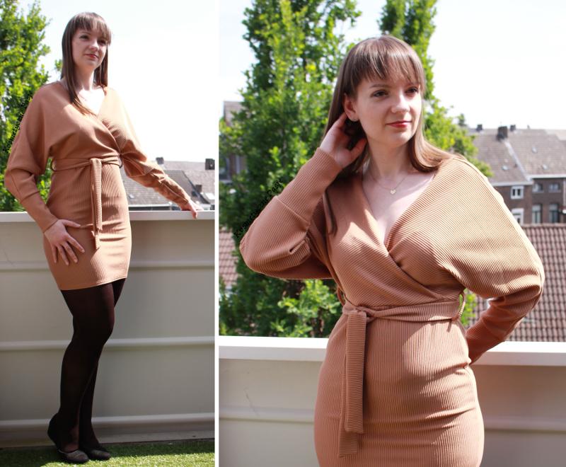 beżowa sukienka femme luxe