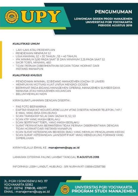 Lowongan Kerja Dosen 2021 Upy Universitas Pgri Yogyakarta Lowongan Dosen