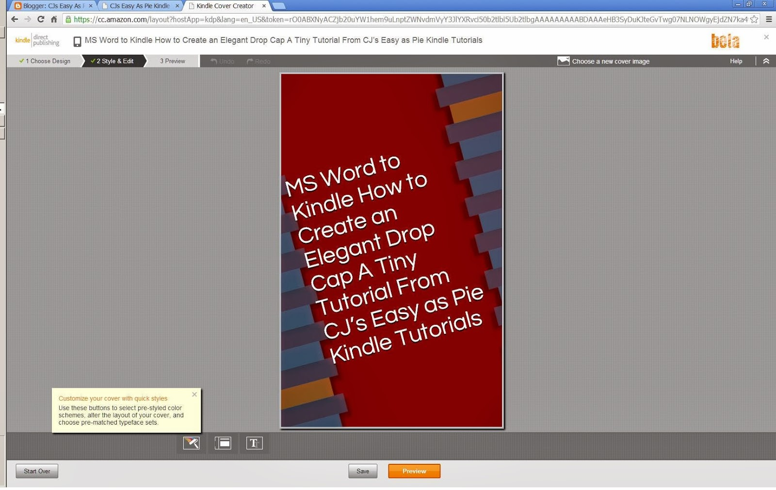 CJs Easy As Pie Kindle Tutorials: Create eBook Cover with Amazon