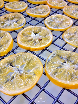 Candied Meyer Lemon Slices, draining