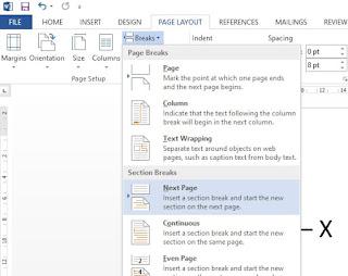 cara membuat halaman di word beda format 1