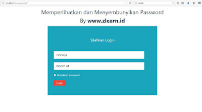 Show Hide Password By Zlearn.id