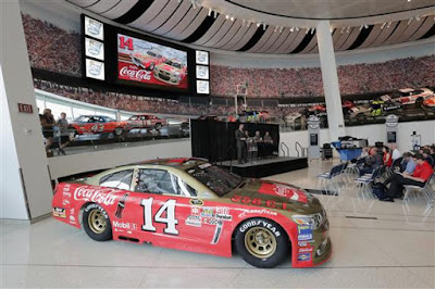 The car's new paint scheme revealed during the No. 14 Darlington Throwback Announcement at #NASCAR Hall of Fame on August 3, 2016 in Charlotte
