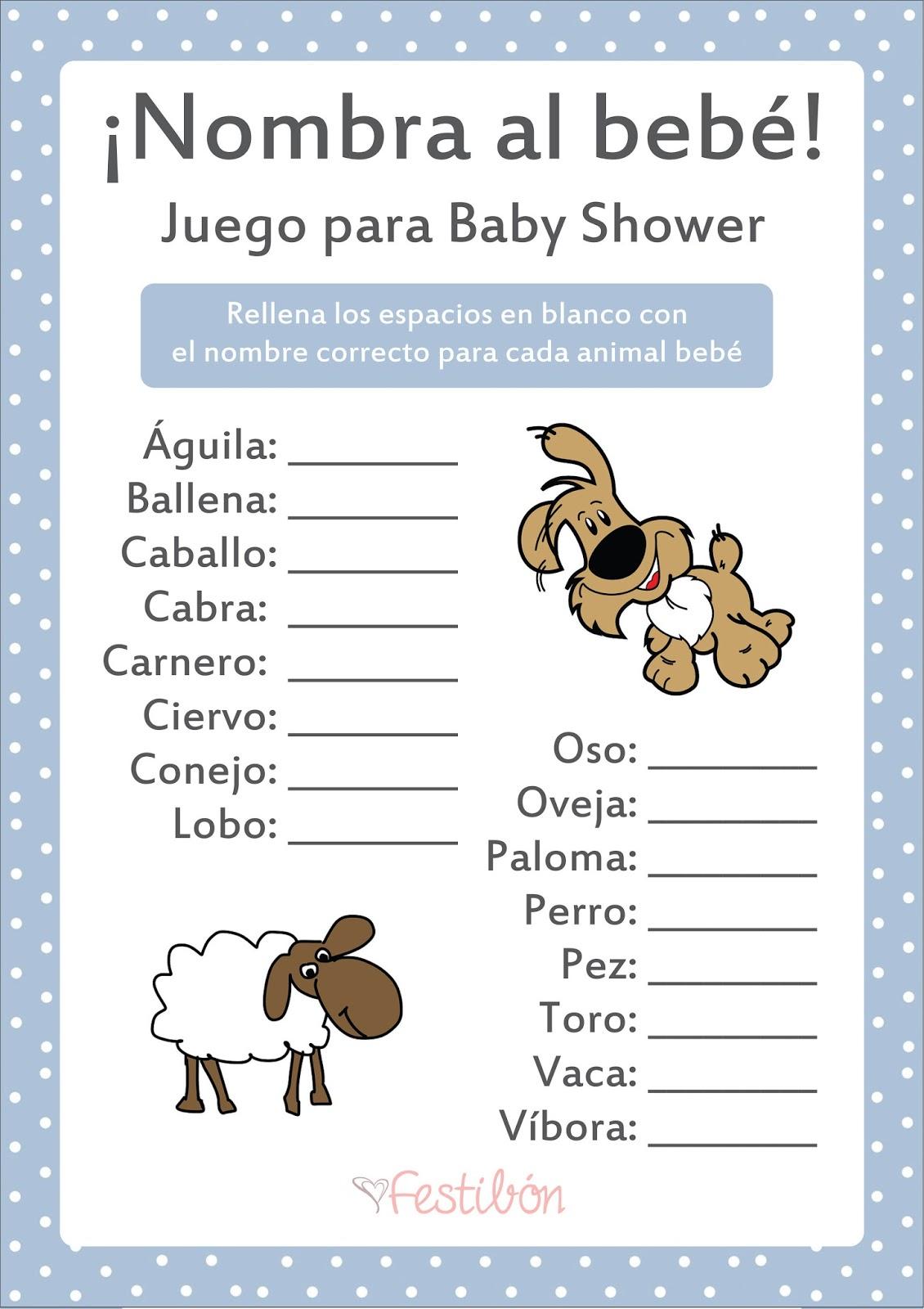Nombra Al Animal Bebe Juegos De Baby Shower