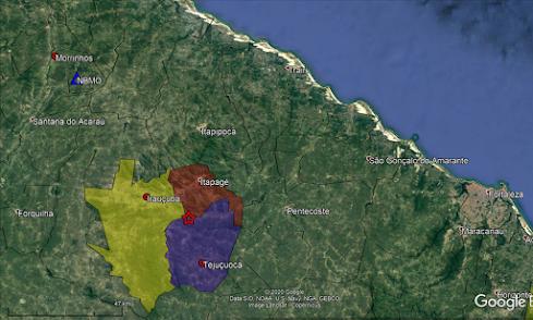 Figura 1. Mapa de localização epicentral. O epicentro está simbolizado pela estrela vermelha. O triângulo azul mostra a localização da estação de Morrinhos (NBMO). Em destaque os limites dos municípios de Tejuçuoca, Itapajé e Irauçuba.