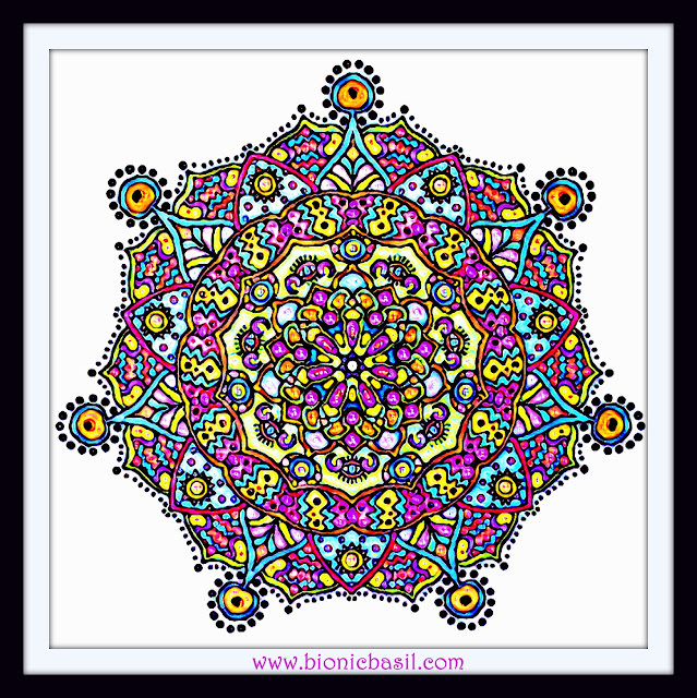 Mandalas on Monday ©BionicBasil® Colouring With Cats Mandala #92 coloured by Cathrine Garnell