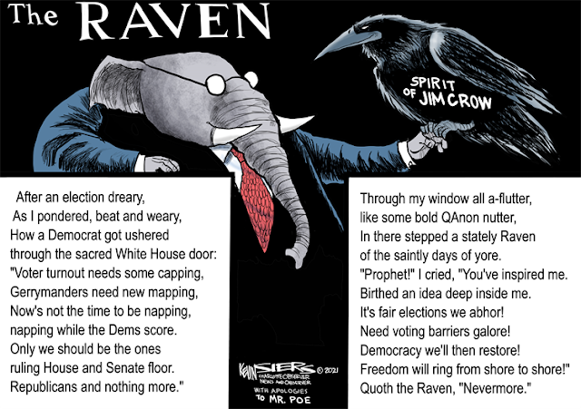 Title:  The Raven.  Image:  Republican Elephant holds on his finger a black bird labeled