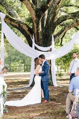 draped oak tree for ceremony