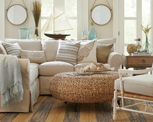 Sandy Beige Coastal Beach Theme Living Room Design with Wicker