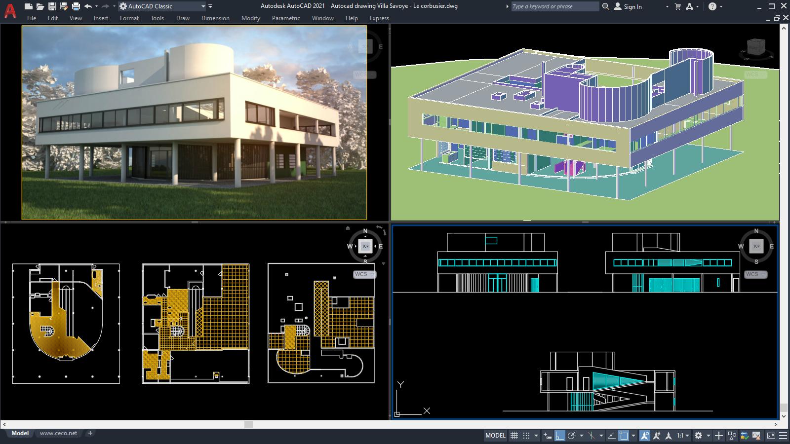 Villa Savoye - Le corbusier Plan 3D, 2D [DWG]