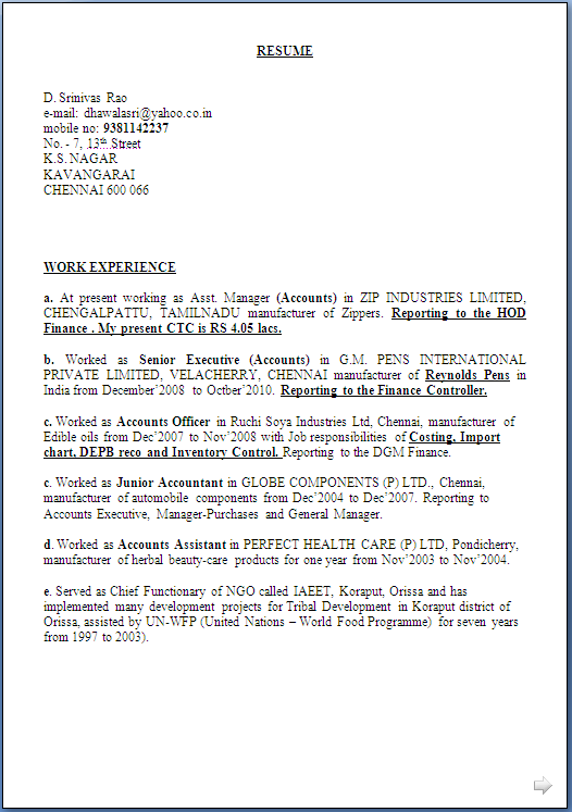 Resume Sample CWA Inter having 16 years rich experiance  Resume Formats
