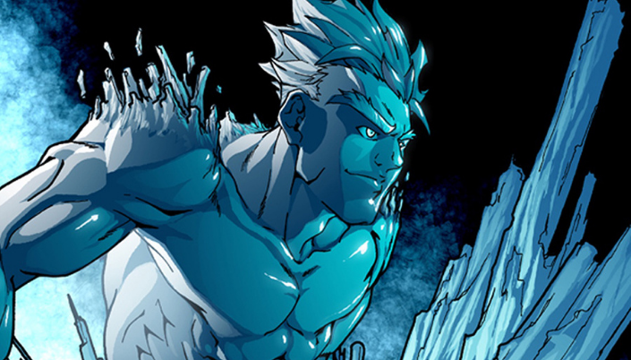 Homem todo azul - corpo e cabelos. Seus cabelos são lisos e arrepiados para cima. De seus ombros saem pedaços de gelo parendo espinhos.