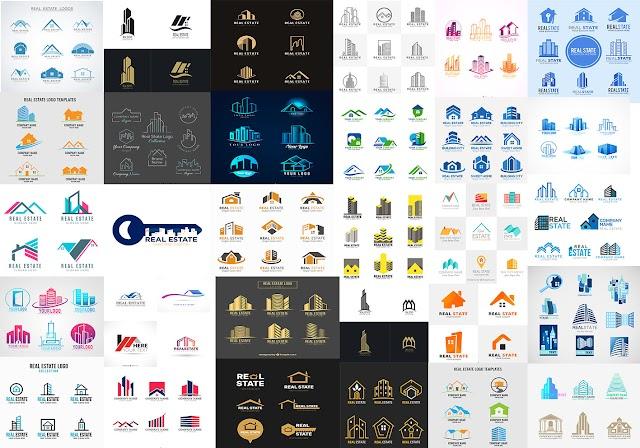 افضل مجموعة شعارات للعقارات والمقاولات لتكون علامة تجارية لشركتك -real estate logos vector