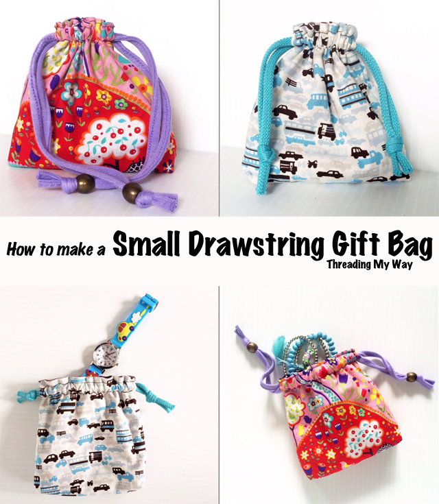 Small, Reusable Drawstring Gift Bag TUTORIAL... Make a reusable bag for gift giving. Step by step instructions showing you how. ~ Threading My Way