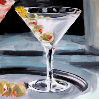 Martini on Silver Tray cocktail painting by artist Merrill Weber