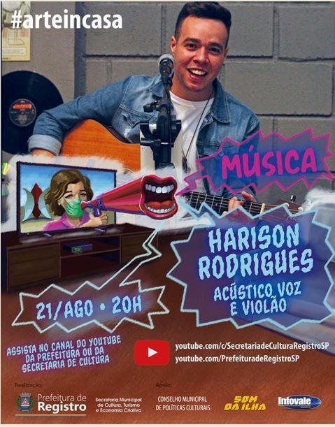 Harison Rodrigues é atração de live acústica do Art In Casa nesta sexta