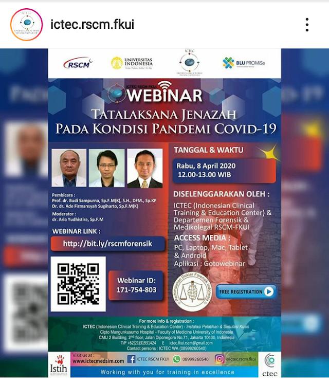 Webinar Tatalaksana Jenazah Pada Kondisi Pandemi Covid-19, Rabu 8 April 2020 Jam 12.00-13.00 WIB Gratis!