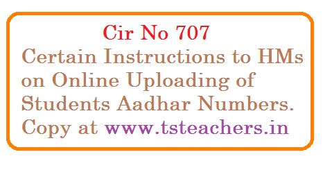 Ranga Reddy District – Child information and child tracking system online uploading of Aadhaar number of students and enrolment drive for Aadhar in Govt. and private schools in the district – guidelines – communicated – Reg.