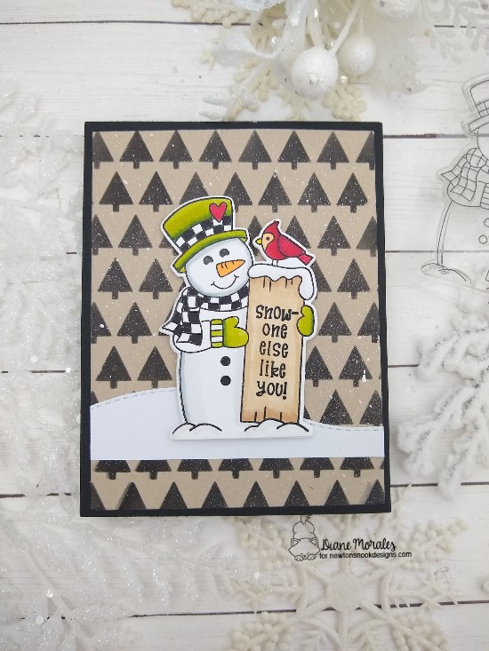 Snow one else like you by Diane features Tiny Trees, Land Borders, and Snowman Greetings by Newton's Nook Designs; #newtonsnook, #cardmaking, #wintercard, #snowmancard