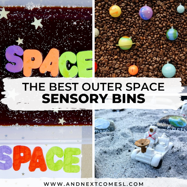 Space themed sensory bin activities for kids