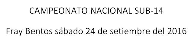 Pista - Campeonato Nacional sub 14 en Fray Bentos (Río Negro, 24/sep/2016)
