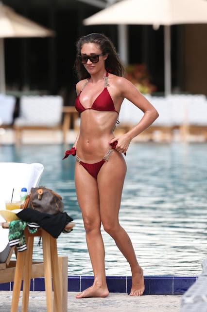 Megan McKenna Hot in Red Bikini - Miami
