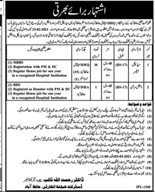 Health Department DHQ Hospital Hafizabad Jobs 2021