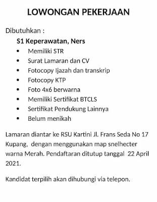 Lowongan Kerja RSU Kartini Kupang Sebagai Ners