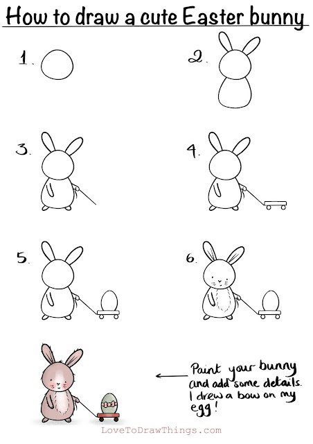 Easy Easter beginner drawing tutorial. Draw a bunny. How to draw