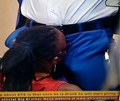 #BBNaija: Efe Gets Massive Hard On As Marvis Attempts To Give Him BJ (Photos)